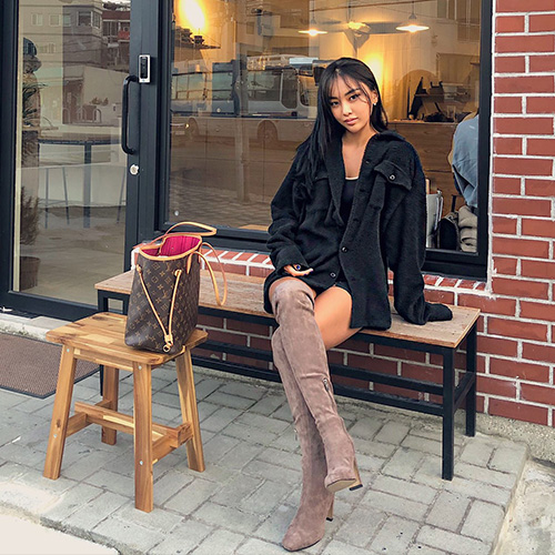 Knee high suede boots
